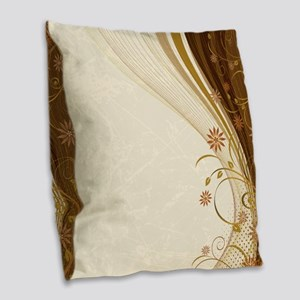 Elegant Floral Abstract Decora Burlap Throw Pillow