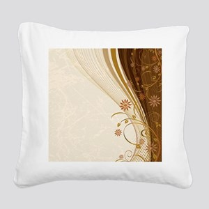 Elegant Floral Abstract Decor Square Canvas Pillow