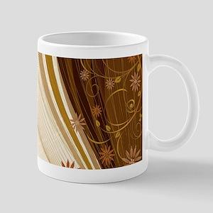 Elegant Floral Abstract Decorative Beige Mugs