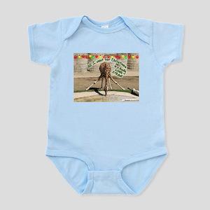 Xmas Drinking Giraffe Infant Bodysuit