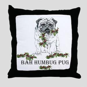 Christmas Pug Holiday Dog Throw Pillow