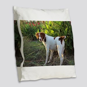 Tropical Pointing Brittany Burlap Throw Pillow