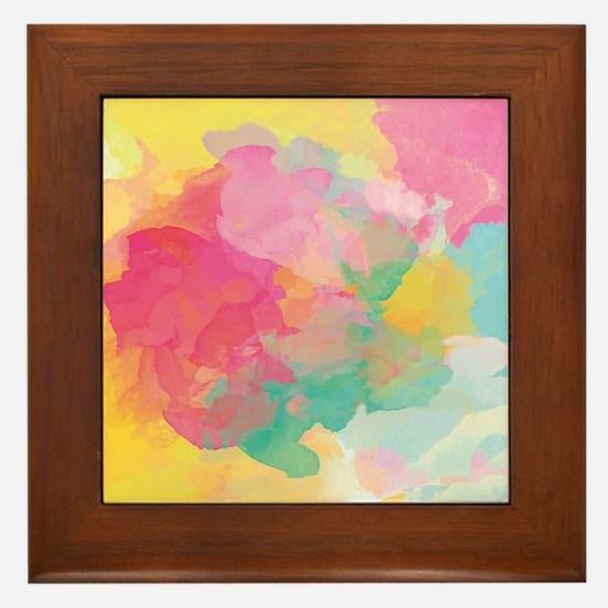 Pastel Watercolors Framed Tile