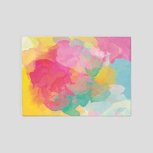 Pastel Watercolors 5'x7'Area Rug