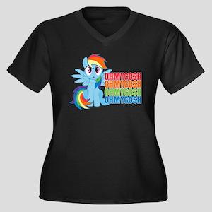 MLP Rainbow Women's Plus Size V-Neck Dark T-Shirt