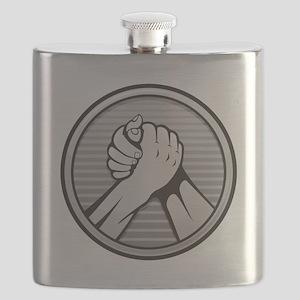 Arm wrestling Silver Flask