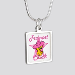 Trumpet Chick #8 Silver Square Necklace