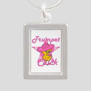 Trumpet Chick #8 Silver Portrait Necklace