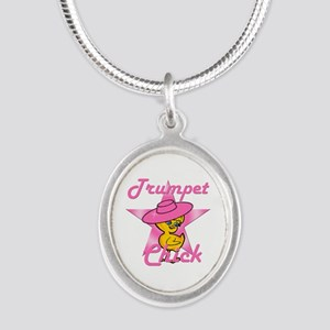 Trumpet Chick #8 Silver Oval Necklace