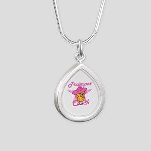 Trumpet Chick #8 Silver Teardrop Necklace