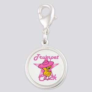 Trumpet Chick #8 Silver Round Charm
