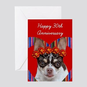 30th Anniversary Chihuahua Dog Greeting Cards