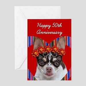 50th Anniversary Chihuahua Dog Greeting Cards