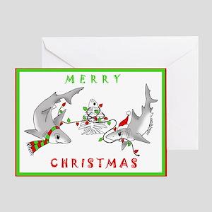 Christmas Sharks Greeting Card
