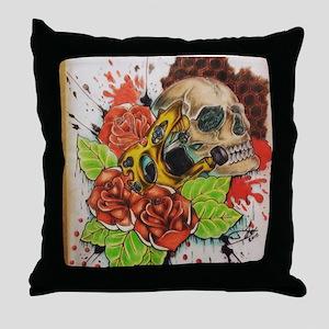 Trash Polka Tattoo Machine Throw Pillow