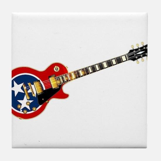 Tennessee Flag Guitar Guitar Tile Coaster