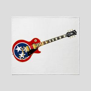 Tennessee Flag Guitar Guitar Throw Blanket