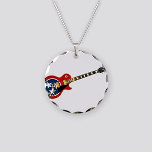 Tennessee Flag Guitar Guitar Necklace Circle Charm