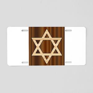 Wooden Star of David Aluminum License Plate