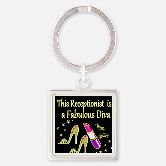 RECEPTIONIST Square Keychain