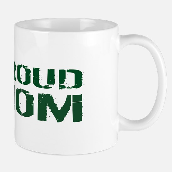 U.S. Army: Proud Mom (Green & White) Mug