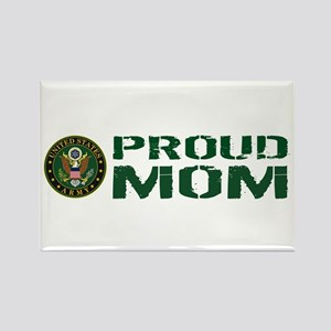U.S. Army: Proud Mom (Green & Whi Rectangle Magnet