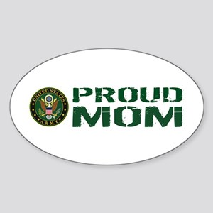 U.S. Army: Proud Mom (Green & White Sticker (Oval)