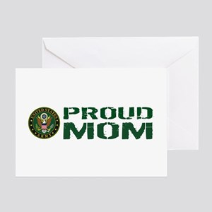 U.S. Army: Proud Mom (Green & White) Greeting Card