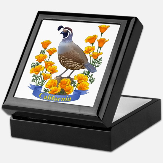 California Quail And Golden Poppy Keepsake Box