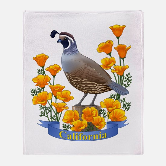 California Quail And Golden Poppy Throw Blanket