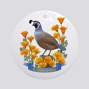 California Quail And Golden Poppy Round Ornament