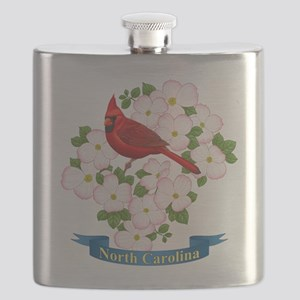 North Carolina Cardinal & Dogwood Flask