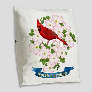 North Carolina Cardinal & Burlap Throw Pillow