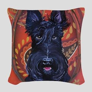 Black Scottie Woven Throw Pillow