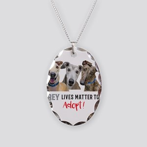 Grey Lives Matter Too ADOPT! Necklace Oval Charm