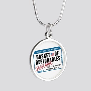 Basket of Deplorables Silver Round Necklace