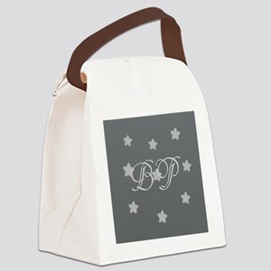 Add Initials Monogram Stars Canvas Lunch Bag