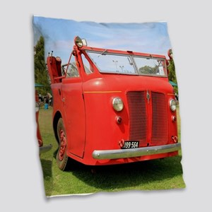 Old red fire truck Burlap Throw Pillow
