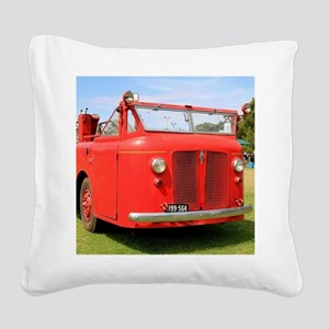 Old red fire truck Square Canvas Pillow