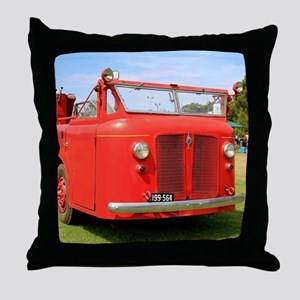 Old red fire truck Throw Pillow