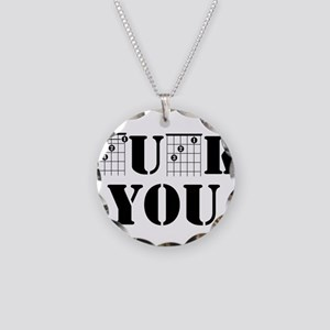 f chord uck you guitar tabs Necklace Circle Charm