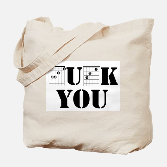 f chord uck you guitar tabs music funny g Tote Bag