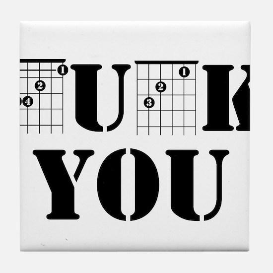 f chord uck you guitar tabs music fun Tile Coaster