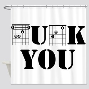 f chord uck you guitar tabs music f Shower Curtain