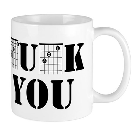 f chord uck you guitar tabs music funny guita Mugs by ADMIN_CP109821655