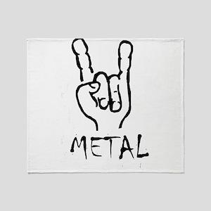 metal horns heavy rock cool design Throw Blanket