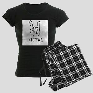 metal horns heavy rock cool Women's Dark Pajamas