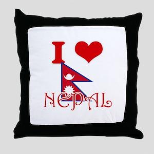 I Love Nepal Throw Pillow