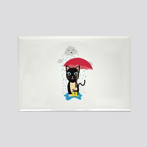 Cat in the rain with Umbrella Magnets