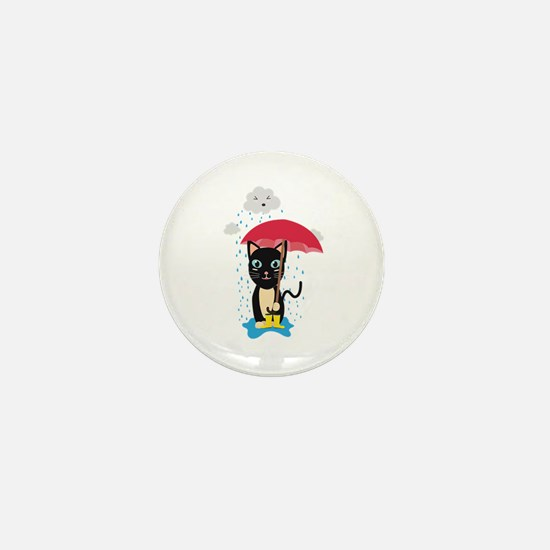 Cat in the rain with Umbrella Mini Button
